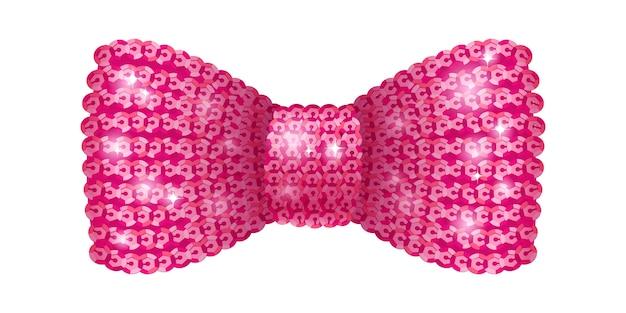 Laço de lantejoulas rosa. Vetor Premium