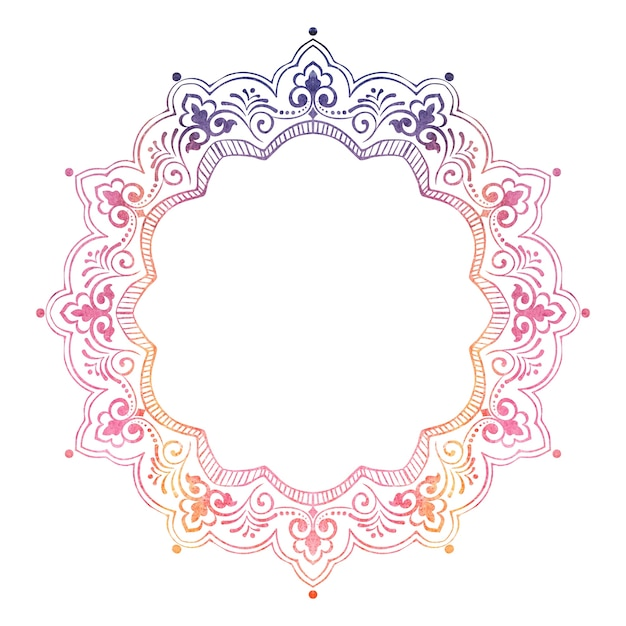 Laço redondo decorativo com elementos damasco e arabesco Vetor grátis