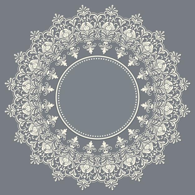 Laço redondo decorativo de vetor com elementos damasco e arabesco. estilo mehndi. oriente ornamento tradicional. ornamento floral colorido redondo de zentangle. Vetor grátis