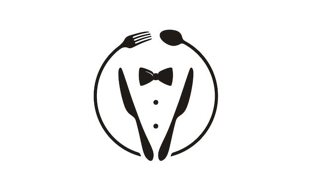 Laço, smoking, logotipo de restaurante de utensílio Vetor Premium