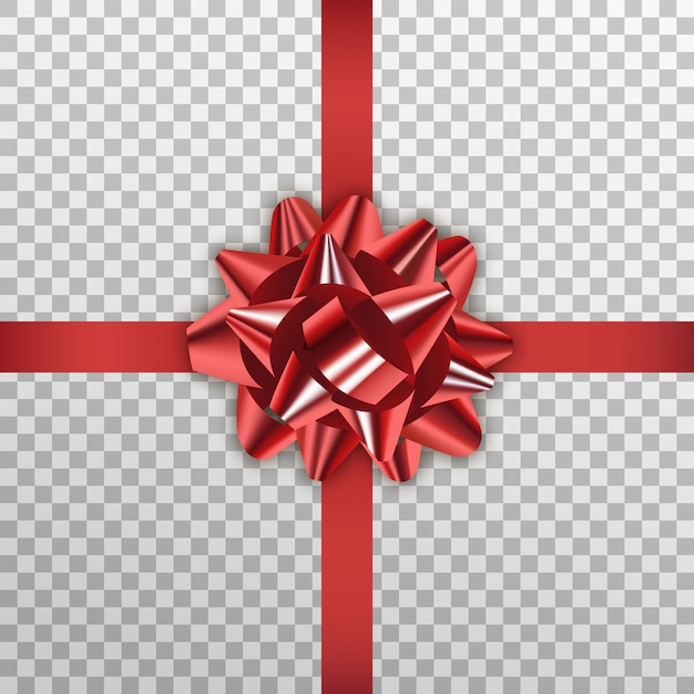 Laço vermelho de presente, embalagem de férias realista fita vermelha Vetor Premium