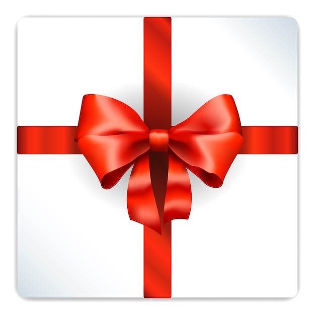 Laço vermelho em caixa de presente prata Vetor grátis