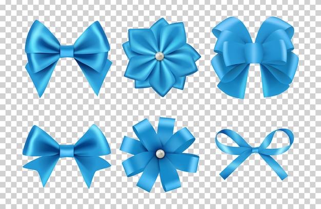 Laços de cetim azul. laços de fita de seda com pérolas isoladas em fundo transparente. laço de cetim e decoração de seda para ilustração de celebração Vetor Premium