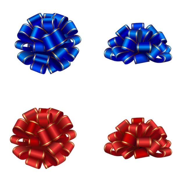 Laços vermelhos e azuis isolados com debrum dourado Vetor Premium