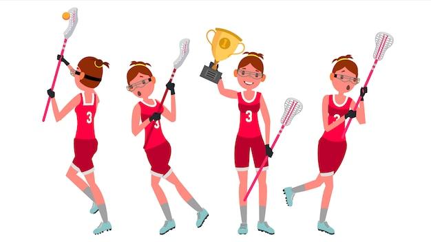 Lacrosse das mulheres Vetor Premium