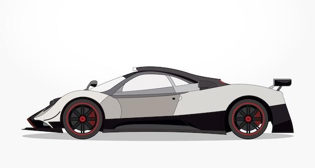 lado detalhado de um desenho animado de carro de corrida preto e