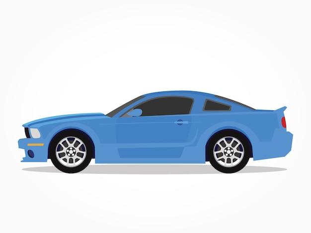 lado detalhado de um desenho animado de carro de sedan azul plano