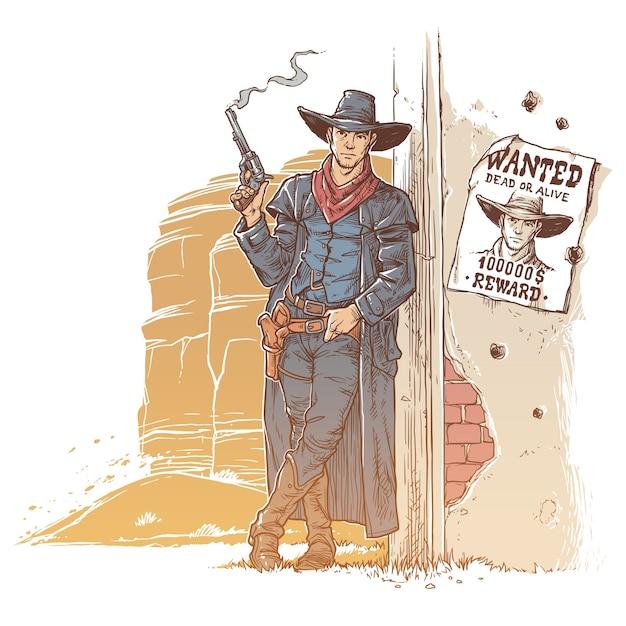 Ladrão com uma arma fumegante Vetor grátis