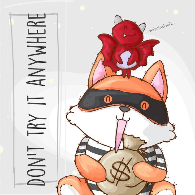 Ladrão de raposa, carregando o saco de dinheiro e morcego, mão desenhada animal Vetor Premium