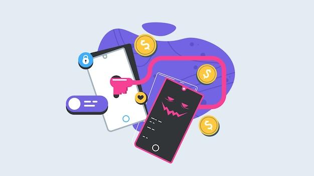 Ladrão rouba dados digitais. crime cibernético e conceito de hacking. ilustração moderna. Vetor Premium