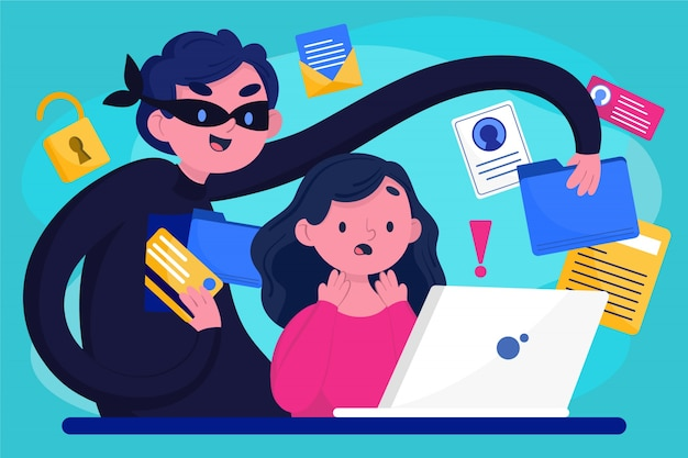 Ladrão roubando dados de usuários Vetor Premium