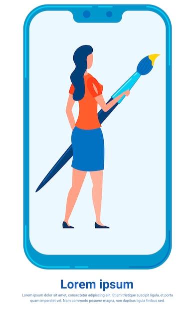 Lady segurando o grande pincel na tela do smartphone Vetor Premium