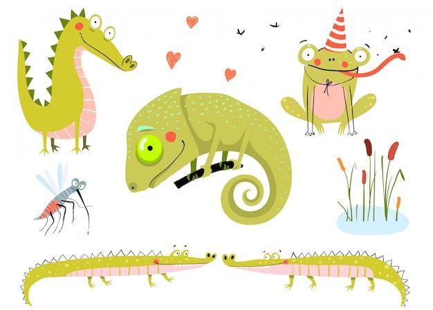 Lagarto, sapos, jacarés e crocodilos. o pântano e o lago doodle desenhos animados de animais para crianças. Vetor Premium