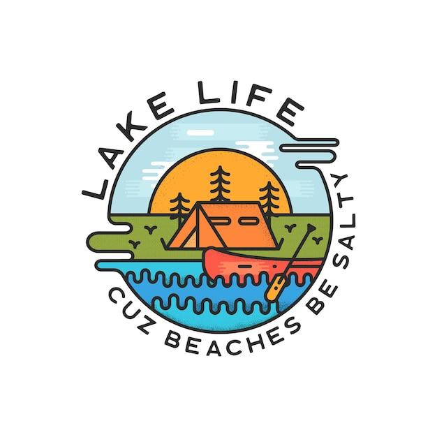 Lake life logo design. estilo líquido dinâmico moderno. adesivo distintivo de aventura de viagem. Vetor Premium