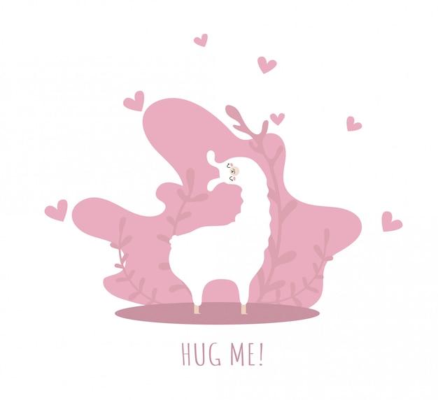 Lama apaixonada por corações e muitos detalhes. me abrace. alpaca fofa. Vetor Premium