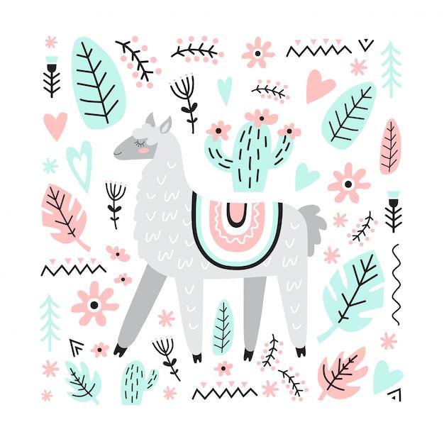 Lama bonito adorável com cacto, flores, plantas, corações. ilustração vetorial no estilo escandinavo. Vetor Premium