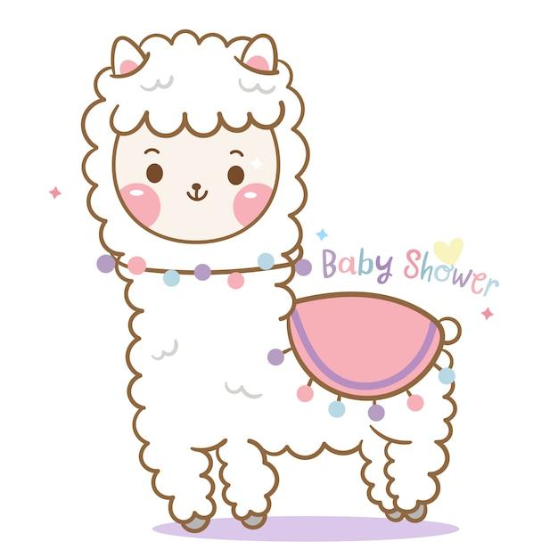Lama bonito, desenhos animados da alpaca Vetor Premium
