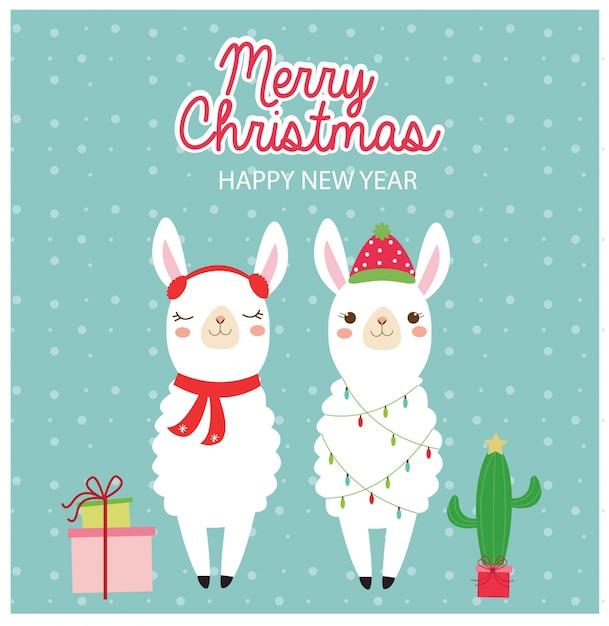 Lama bonito no cartão dos feriados do natal Vetor Premium