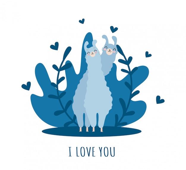Lama com alpaca e corações e muitos detalhes. eu te amo Vetor Premium