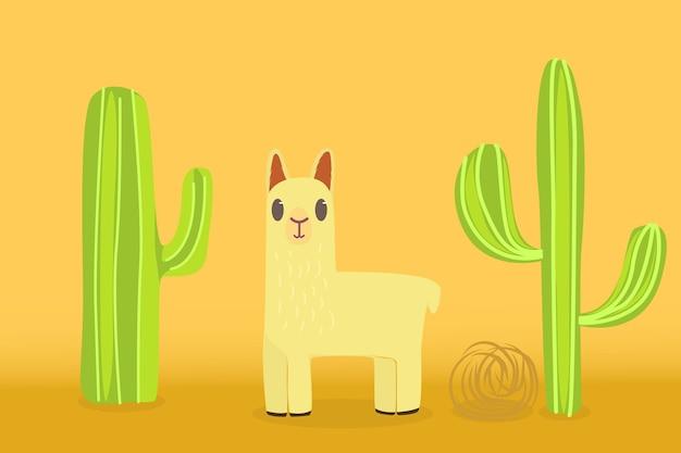 Lama no deserto com um fundo de cactos e plantas ondulantes Vetor Premium