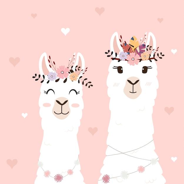 Lamas bonitos para convite de casamento. Vetor Premium
