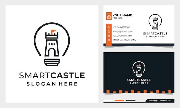 Lâmpada com arte de linha castle logo design, smart castle com modelo de cartão de visita Vetor Premium