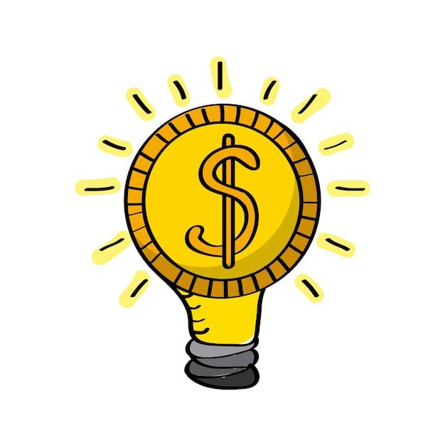 Lâmpada com sinal de dinheiro   Vetor Premium
