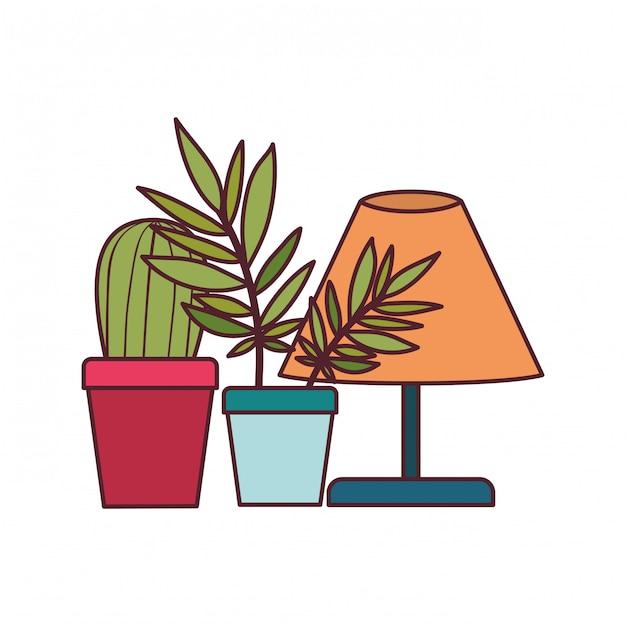 Lâmpada de escritório com planta de casa Vetor grátis