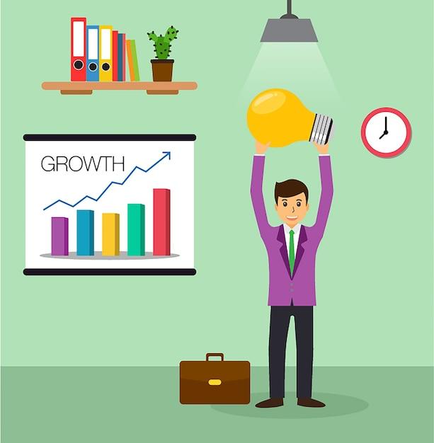 Lâmpada de ideia de empresário, vetor de design plano de escritório Vetor Premium