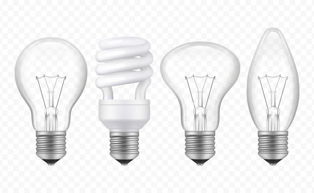 Lâmpada de iluminação. lâmpada transparente de vidro realista de símbolos de idéias criativas de negócios diferentes estilos coleção de vetores Vetor Premium
