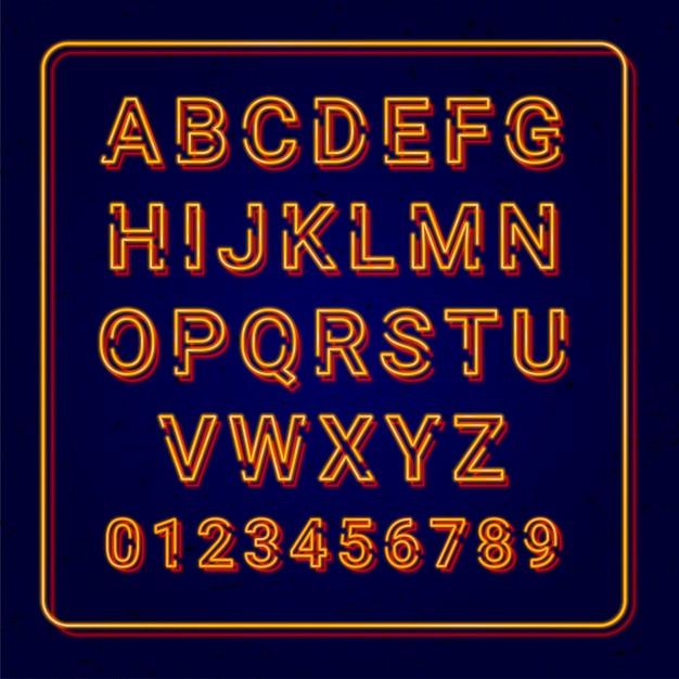 Lâmpada de néon laranja alfabeto Vetor Premium