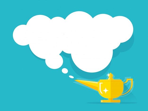 Lâmpada de ouro com ilustração de nuvem isolada Vetor Premium