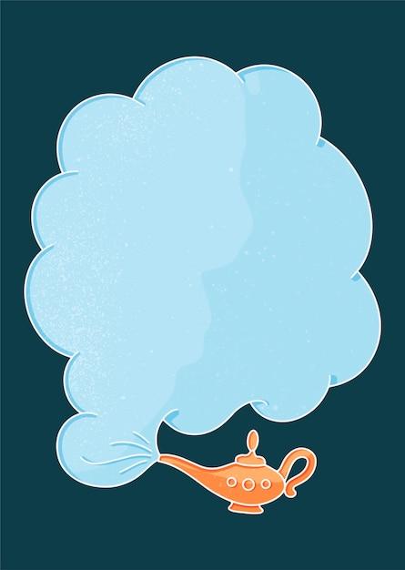 Lâmpada de ouro e nuvem de fumaça em estilo vintage sobre fundo azul. Vetor Premium