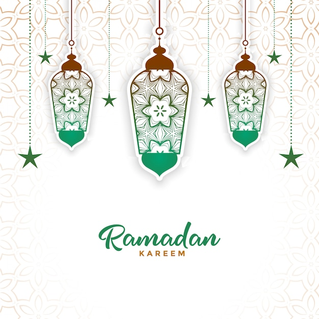 Lâmpada decorativa islâmica ramadan kareem fundo Vetor grátis