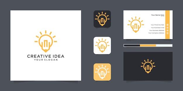 Lâmpada e logotipo de lápis e cartão de visita Vetor Premium