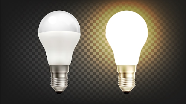 Lâmpada economizadora de incandescência elétrica de economia de energia Vetor Premium