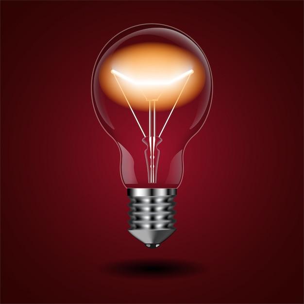 Lâmpada iluminada com brilho da bobina no vermelho Vetor Premium