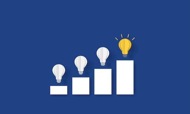 Lâmpada incandescente nas escadas, new normal, conceito de inspiração empresarial Vetor Premium