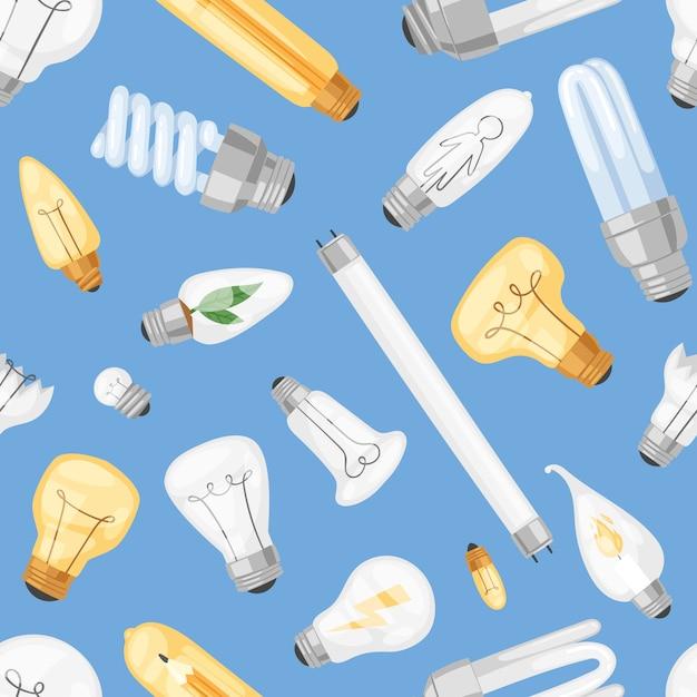 Lâmpada lâmpada idéia solução ícone e lâmpada de iluminação elétrica cfl ou led eletricidade e luz fluorescente ilustração conjunto sem costura de fundo Vetor Premium