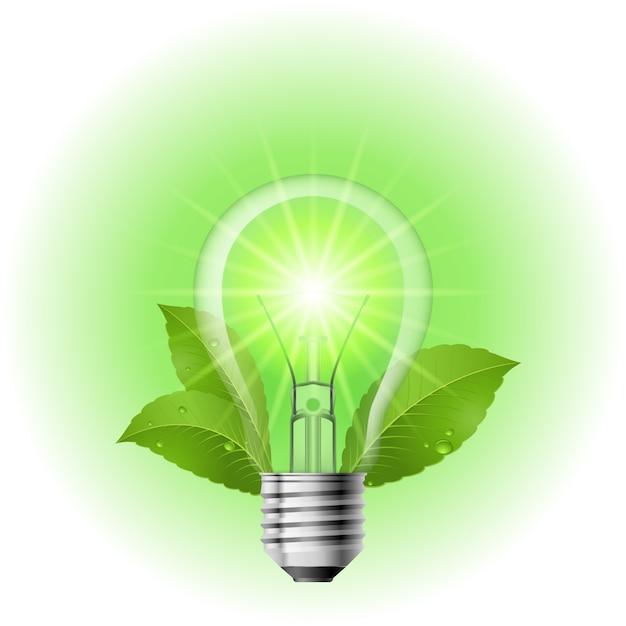 Lâmpada que poupa energia Vetor Premium