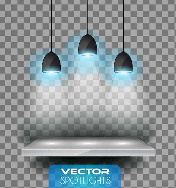 Lâmpadas com halo de luz apontando para a prateleira Vetor Premium
