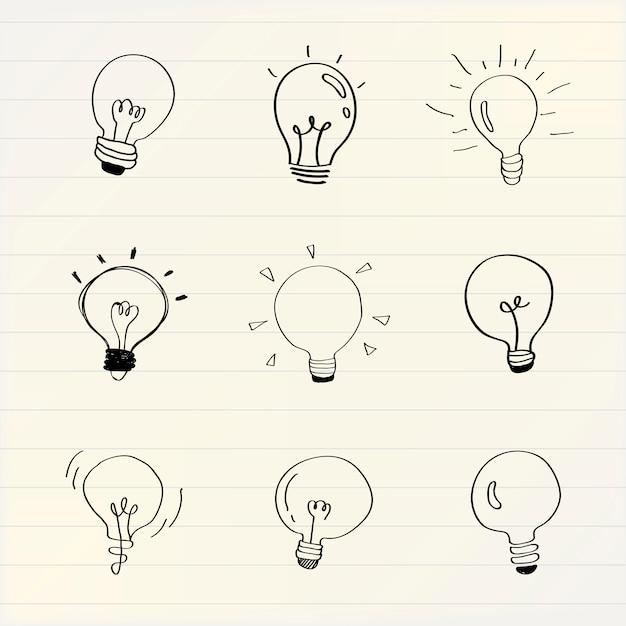 Lâmpadas criativas doodle vetor de coleção Vetor grátis