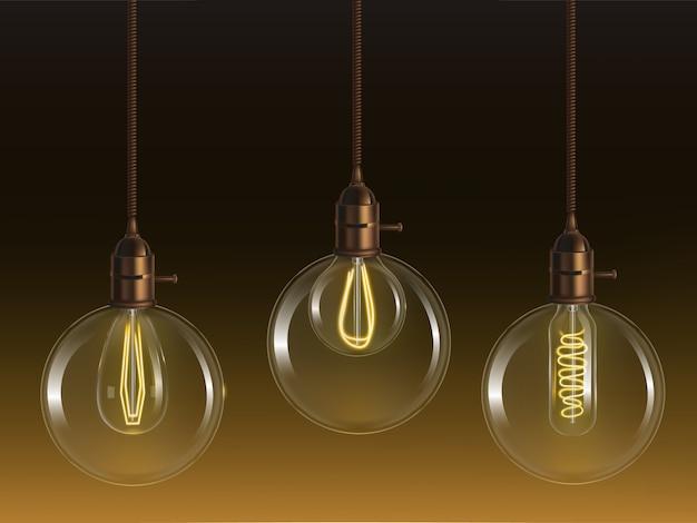 Lâmpadas de bola de vidro vintage brilhante com lâmpadas incandescentes retrô de forma tubular e globo Vetor grátis