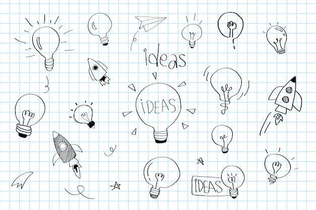 Lâmpadas de idéias de criatividade doodle vector coleção Vetor grátis