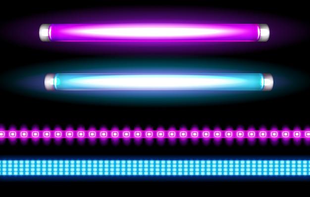 Lâmpadas de tubo de néon e tiras de led, lâmpadas longas Vetor grátis