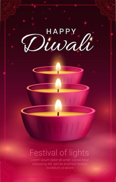 Lâmpadas diya, festival de luz diwali ou deepavali do feriado da religião hindu indiana. Vetor Premium