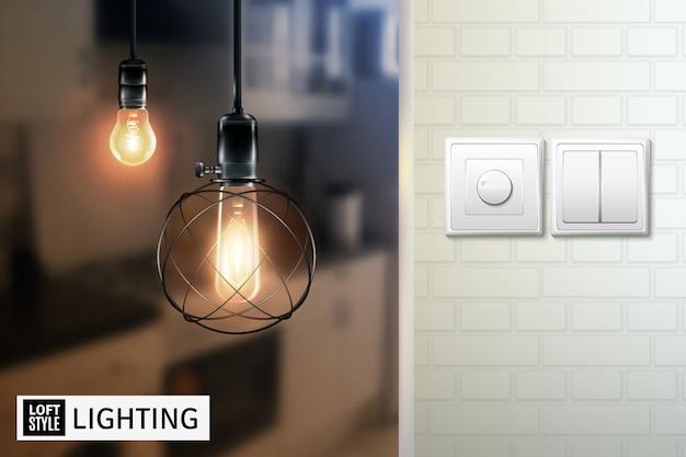 Lâmpadas e interruptores de estilo loft Vetor grátis