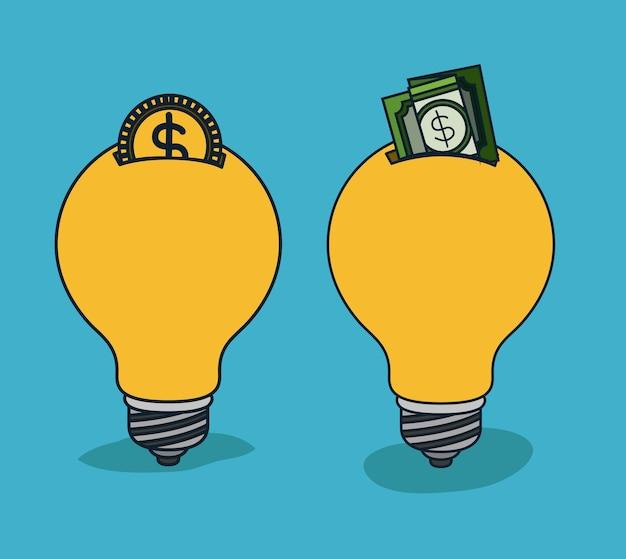 Lâmpadas em forma de caixa de dinheiro com moeda e dólar Vetor Premium