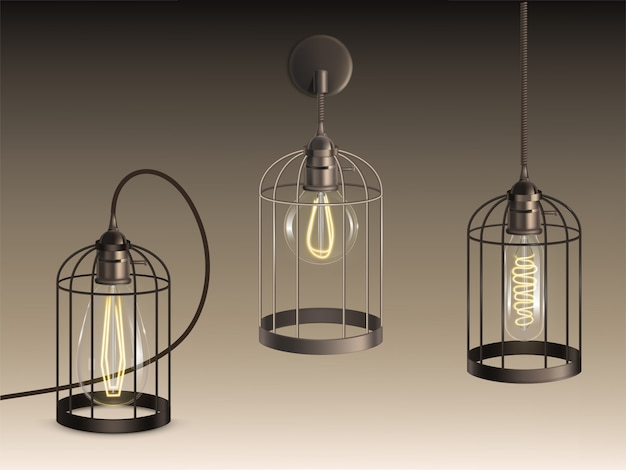 Lâmpadas estilo loft com lâmpadas incandescentes de diferentes formas e filamentos aquecidos Vetor grátis