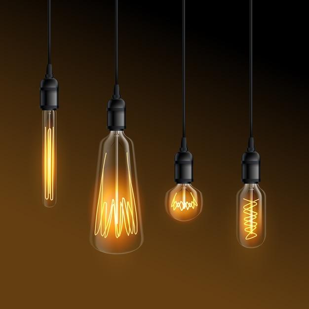 Lâmpadas incandescentes realistas Vetor grátis